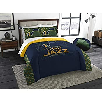 Image of 3 Piece NBA Jazz Comforter Full Queen Set, Basketball Themed Bedding Sports Patterned, Team Logo Fan Merchandise Athletic Team Spirit Fan, Blue Green Multi, Polyester