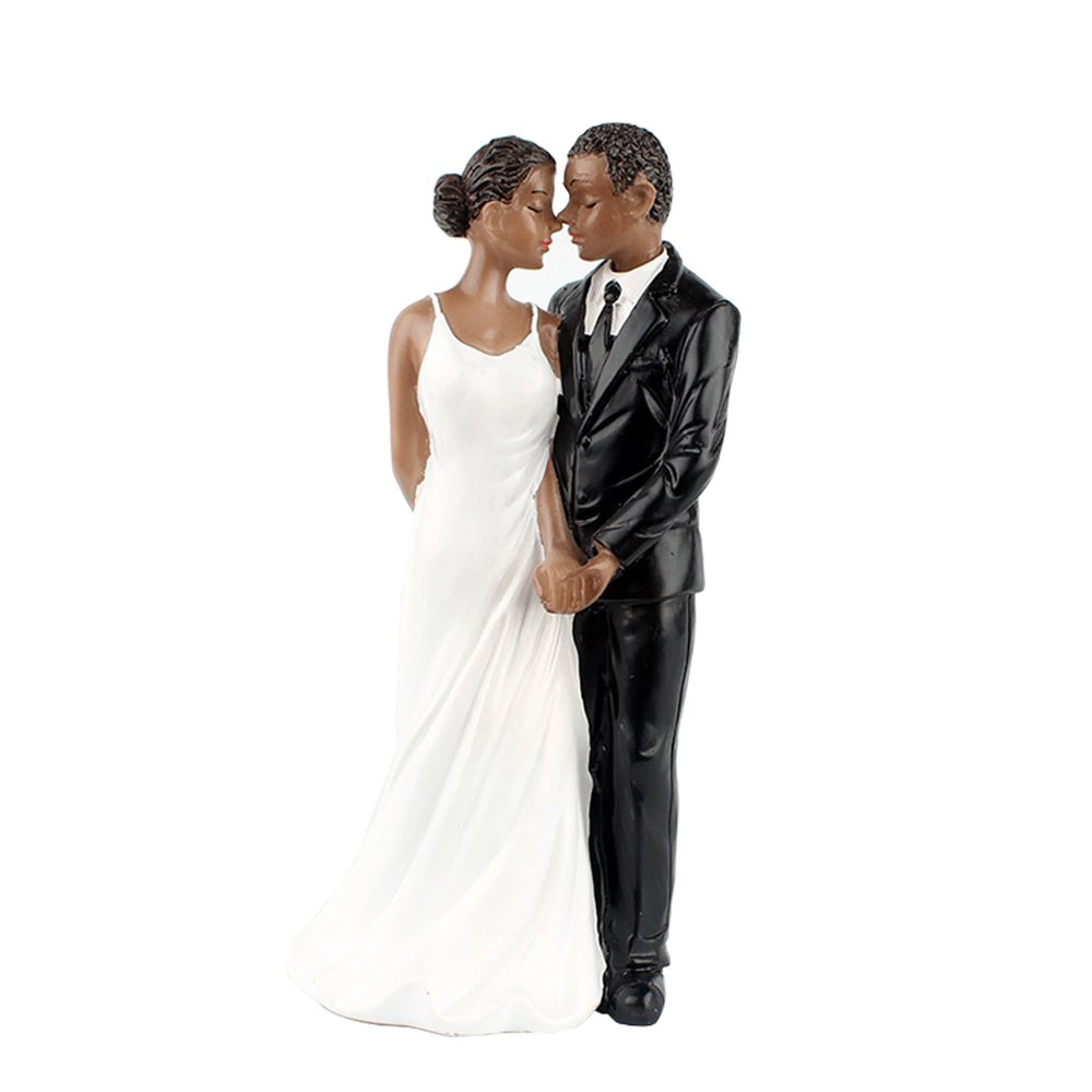 African American Bride and Groom Love Romance Resin Cake Topper Groom Bride Doll Ornaments Wedding Cake Decoration (Standing Bride and Groom)