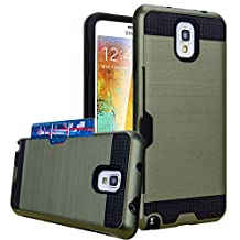 Galaxy Note 3 Case, Jwest Hybrid Armor Galaxy Note 3 Wallet Case Protective Shell Hard PC Case + Soft TPU Bumper Cover with Card Holder Slot for Samsung Galaxy Note 3 (Army Green)