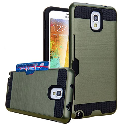 Note 3 Case, Galaxy Note 3 Case, Jwest Note 3 Wallet Case with ID Card Slot Holder Rugged Rubber Heavy Duty Shock Absorbent Armor Hybrid Defender Shock Proof Case Cover Skin - Army Green