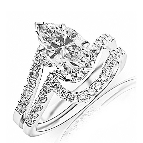 Platinum 0.83 CTW Curving Pave & Prong-set Round Diamond Engagement Ring and Wedding Band Set w/ 0.56 Ct GIA Certified Marquise Cut K Color VS2 Clarity - Platinum Diamond Pave Set Band