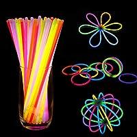 GLOCARNIVAL 8 Inch 100 Pack Glow Sticks - Bendable Glow Sticks with Necklace and Bracelet Connectors - Glowstick Bulk Party Bracelets (104 Connectors)