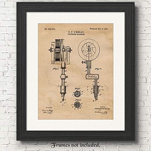 Original Tattooing Machine Patent Art Poster Prints - 1 (One) Photo - 11x14 Unframed - Great Wall Art Decor Gifts for Ink Artists, Man Cave, Garage, Boutiques, Salons. ()