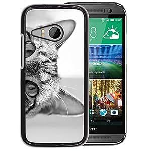 Supergiant (Cat Eyes Black White Kitten Cute Pet) Impreso colorido protector duro espalda Funda piel de Shell para HTC ONE MINI 2 / M8 MINI