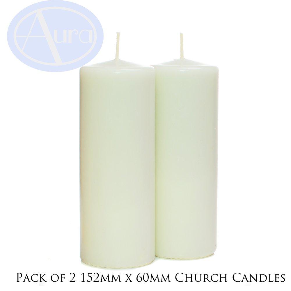 Confezione da 2 ceri da chiesa in avorio (60mm x 152mm) Aura Essential Oils