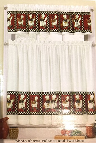 Kitchen Window Valance Black White product image