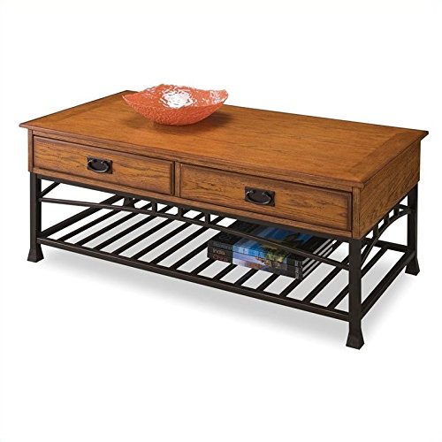 Home Style 5050-21 Modern Craftsman Coffee Table, Distressed Oak Finish (Craftsman Style Furniture)