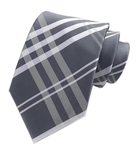 (Mens Stripe Grey White Jacquard Silk Tie Designer Necktie For Big Boys Youth Son)