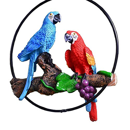 (Steve Life story store S&F Hanging Parrot Statue One Pair Standing on The Tree Two Color (Blue and Red))