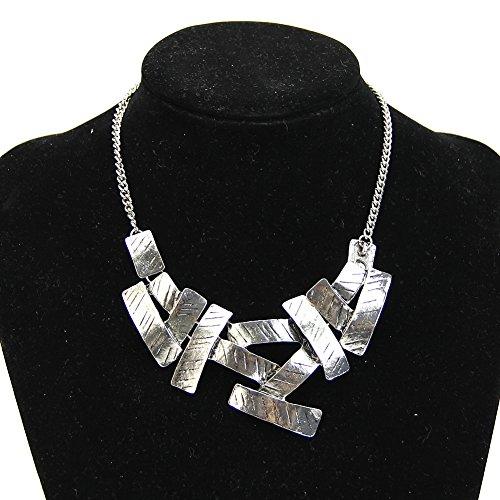 HeroNeo Women Charm Metallic Irregular Geometric Squares Pendant Temperament Necklace ()