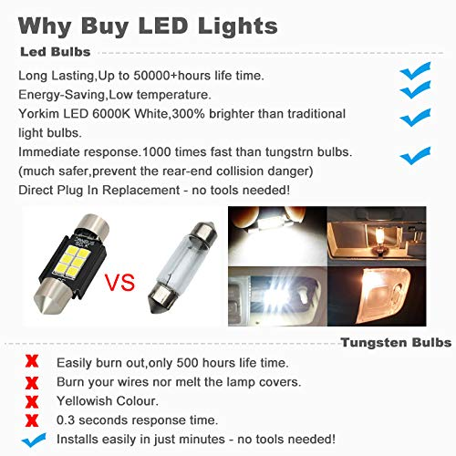 """Boodled Extremely Bright 350 Lumens 3030 Chipset Canbus Error Free LED Bulbs for Interior Car Lights License Plate Dome Map Door Courtesy 1.25/"""" 31MM Festoon DE3175 6428 Xenon White 4x31MM-3030-6-W-JM"""
