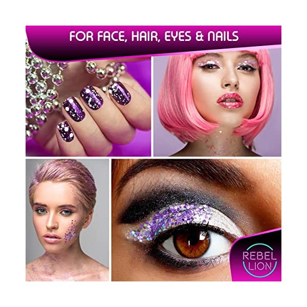 Cosmetic Glitter For Face, Body & Hair- Festival, Rave Silver with Fix Gel 4