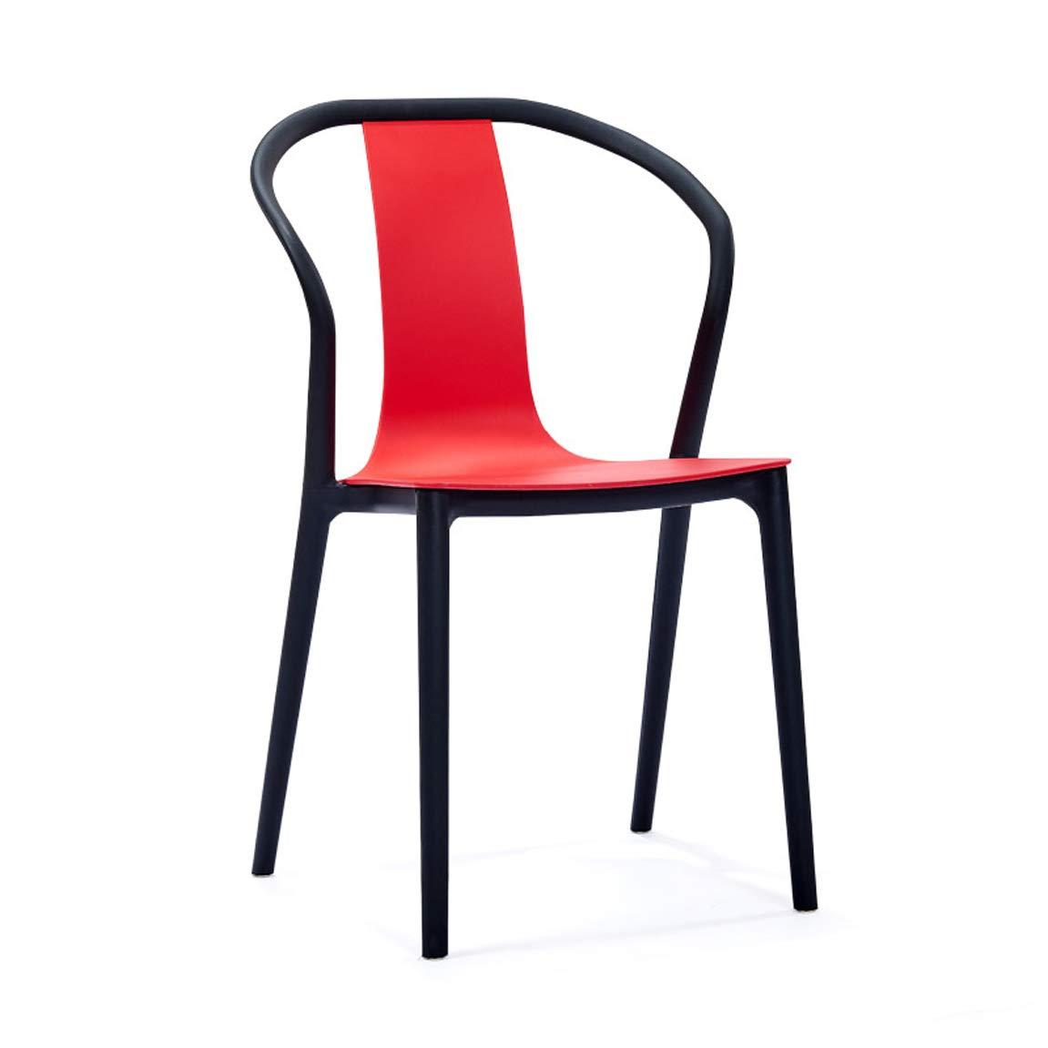 JJJJD 現代的なミニマリストの椅子アームレストダイニングチェア北欧の家庭のカジュアルファッションシンプルなプラスチック製の椅子 (Color : Red) B07SJ3NCFV Red