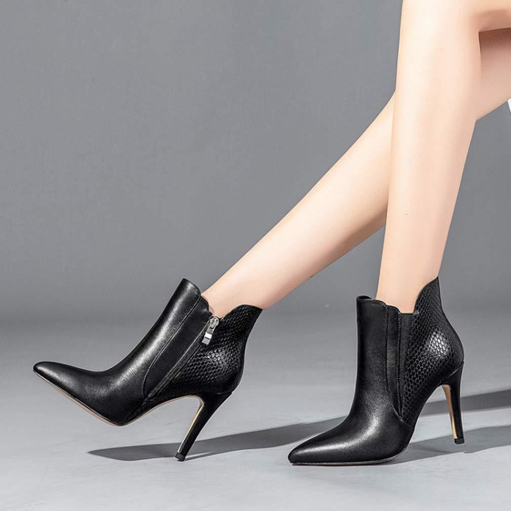 YAN damen damen damen es Ankle Stiefel Herbst-Oberheber Schuhe Lady ' S schwarz Pointed Stiletto Fashion Martin Stiefel,schwarz,37 1a7a8d