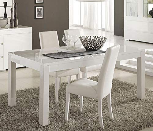 Kasalinea FLAVIE - Mesa de Comedor, Color Blanco Lacado: Amazon.es ...