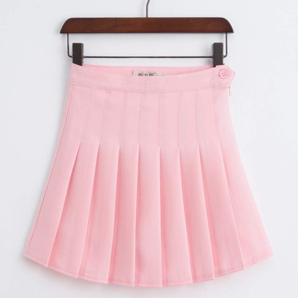 Falda,Rosa Moda Mujer Verano Cintura Alta Falda Plisada Falda ...
