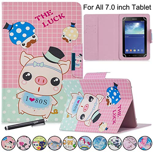 Rca Pocket - 7 inch Tablet Case, Newshine Stand Folio Universal Protective Cover for Galaxy Tab, Kindle Fire 7, RCA Voyager, Huawei, Google and Other 6.5