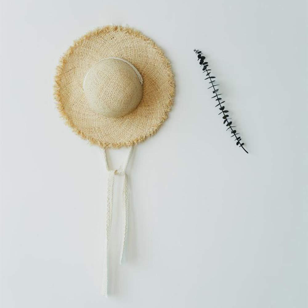 Hengbaixin Damen Kleine Frische Handarbeit Weben Strohhut Sommer Strand Sonnenschutz Kopfbedeckung Urlaub Spitze Band Gro/ße Krempe Hut Beige