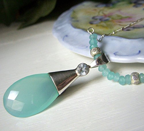 Aqua Chalcedony Sterling Silver Necklace Pendant - 22.5