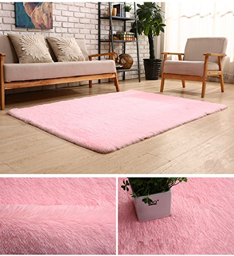 BlueSnail Super Ultra Soft Modern Shag Area Rugs, 4' x 5', Bedroom Livingroom Sittingroom Floor Rug Carpet Blanket for Children Play Home Decorate (4' x 5', (Pink Shag)