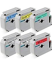 Freshworld Compatible Label Tape Replacement for Brother M Tapes M-K131 M-K231(M-K231s) M-K431 M-K531 M-K631 M-K731 1/2 Inch 12mm, for Label Maker PT-90 PT-M95 PT-70BM PT-65 PT-45, 26.2 Feet(8M),6P