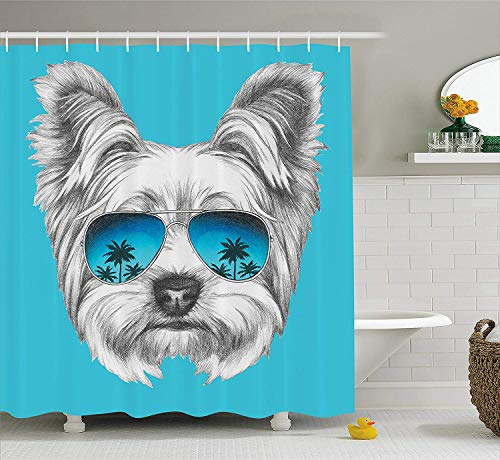 (Yorkie Shower Curtain, Yorkshire Terrier Portrait with Cool Mirror Sunglasses Hand Drawn Cute Animal Art, Fabric Bathroom Decor Set with Hooks, 60W X 72L Inche Extra Wide, Blue White)
