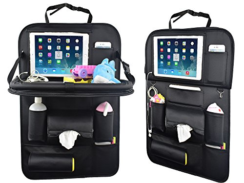 Car Back Seat Organizer with Table Tray for Baby PU Leather Foldable Dining Table Desk SUASI Back Seat Tablet Ipad Holder Tissue Storage Bag Pockets for Kids Travel(1 Pack) (Car Window Organizer)