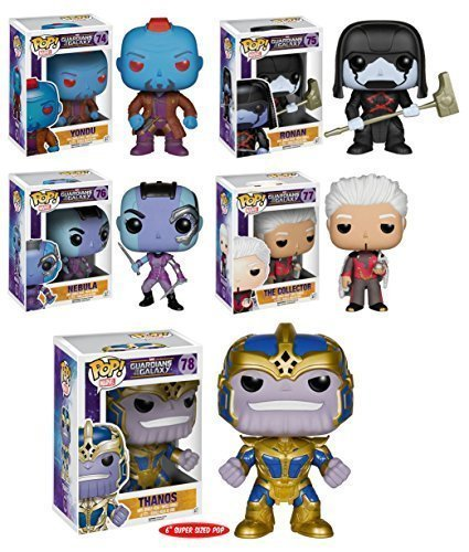 Pop! Marvel: Guardians of the Galaxy Series 2 Full Set of 5 Figures (Yondu, Ronan, Nebula, The Collector & 6 Thanos!) by FunKo