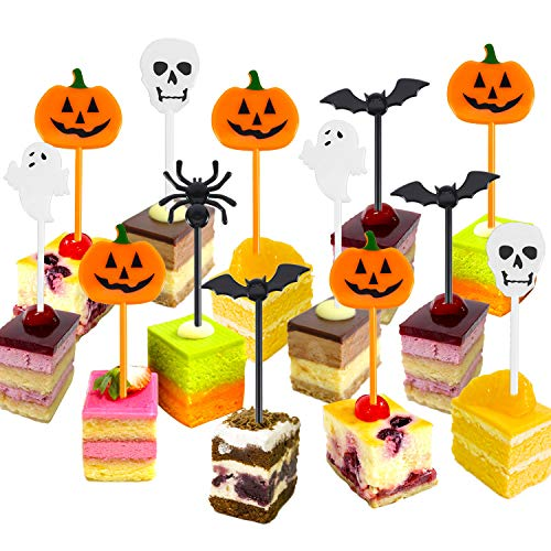 Tatuo Plastic Halloween Picks Halloween Cupcake Topper Picks Ghost Decor for Kids Birthday Party Themed Party (50) -