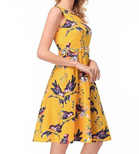 Coolred Party Dress Yellow Retro Hepburn Women Dress Floral Evening Club Sleeveless UqUZrA