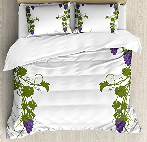 Lunarable Vine Duvet Cover Set, Grapevine Arch Design Wedding Inspired Green Gate of Happiness Memories Print, Decorative 3 Piece Bedding Set with 2 Pillow Shams, King Size, Violet Green