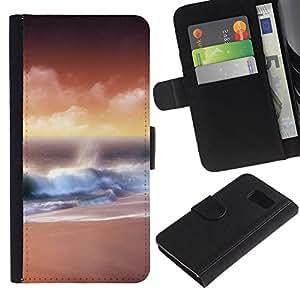 KingStore / Leather Etui en cuir / Samsung Galaxy S6 / Naturaleza Hermosa Forrest Verde 111
