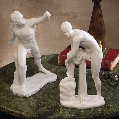 Design Toscano WU972383 The Classic Greek Sculptures Le Gladiator Borghese and Hermes with Sandal Set