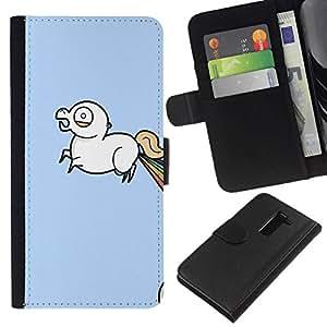 All Phone Most Case / Oferta Especial Cáscara Funda de cuero Monedero Cubierta de proteccion Caso / Wallet Case for LG G2 D800 // Unicorn Rainbow - Lol Wtf Funny