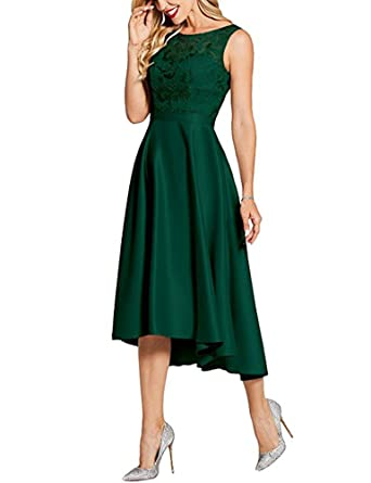 BOwith High Low Prom Dresses Lace Bridesmaid Dresses Cocktail Evening Gowns - Green - 16