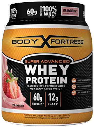 Lean Protein Powder (Body Fortress Super Advanced Whey Protein, Strawberry Protein Supplement Powder to Build Lean Muscle & Strength 1-2lb Jar.)
