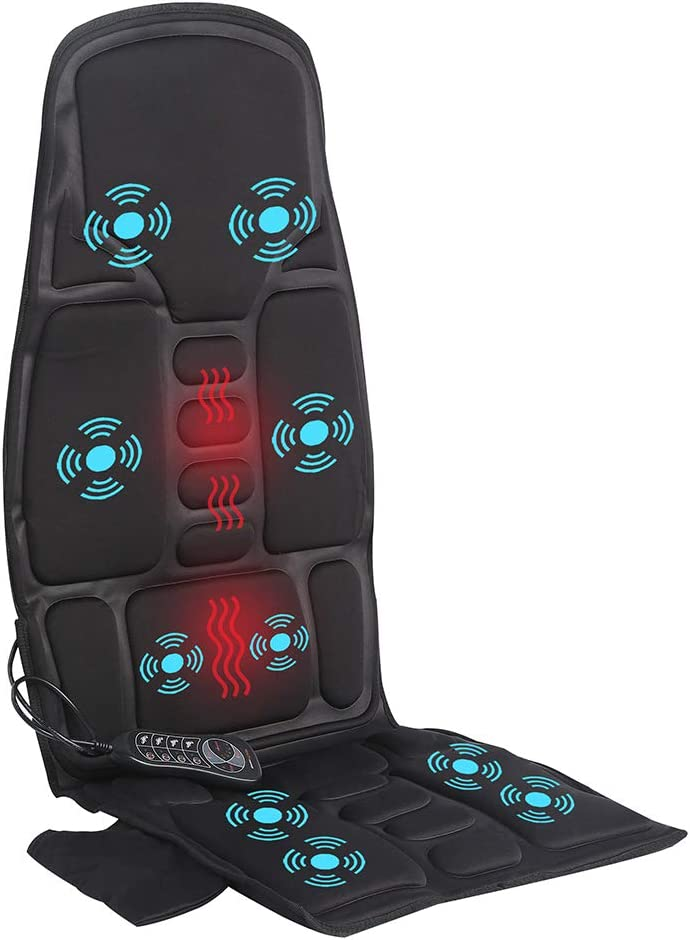 IDODO Vibration Car Back Massager with Heat, Back Massage Cushion with 10 Vibrating Motors and Heating Therapy to Release Stress and Fatigue, for Car, Home and Office Use