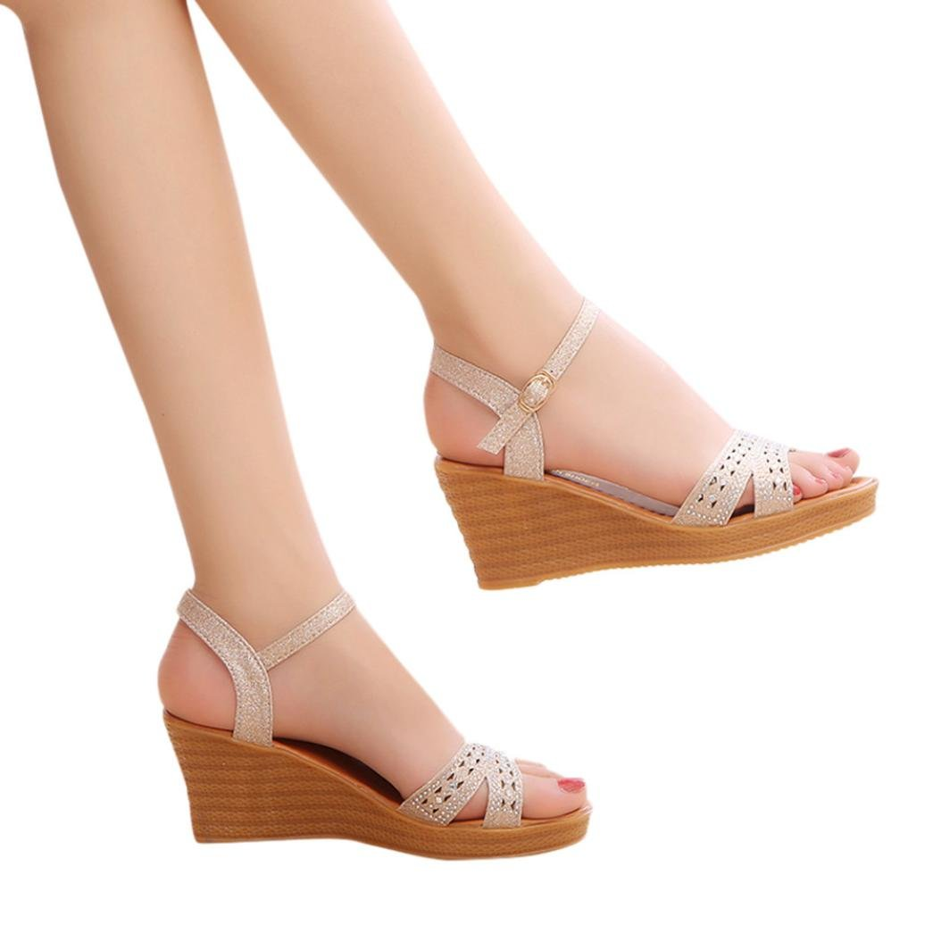 Summer Women High Heels Sandals,Vanvler Ladies Fish Mouth Platform Wedge Sandals Slope Sandals Clearance B07D7QQ4SH 6.5 US|Gold