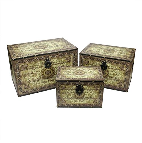 Northlight Set of 3 Oriental-Style Earth Tone Decorative Wooden Storage Boxes, 22'', Brown/Cream by Northlight