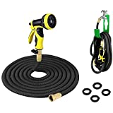 PLUSINNO Retractable Garden Water Hose FULL SET, Heavy Duty Expanding Hose Pipe with Shut Off Valve Solid Brass Connector, Free Hose Hanger and 9-pattern Spray Nozzle (25 Feet, Black)