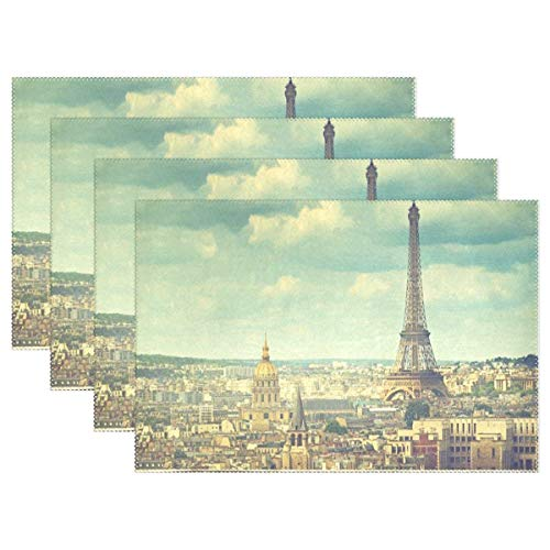 Paris Eiffel Tower Europe Placemat Reusable Table Mat Insulation Coffee Tea Cup Pad 12