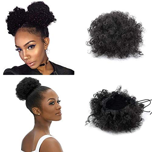 High Afro Puff Ponytail Drawstring Short African American Synthetic Kinky Curly Hair Extension for Black Women 1 PCS (2#)