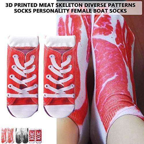 Tivollyff 3D印刷肉スケルトン多様なパターンソックス弾性ボートソックス創造的な人格快適な女性のための面白い靴下