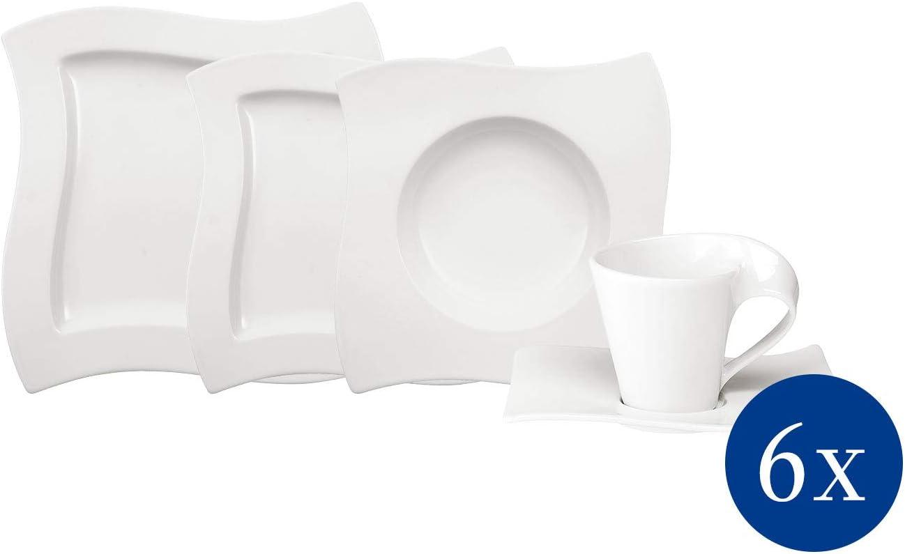 Villeroy & Boch NewWave Basic Vajilla de mesa para 6 personas, 30 piezas, Porcelana Premium, Blanco