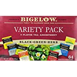 Bigelow Tea Variety Pack, 8 Flavor Assortment, 64-Count Boxes (Pack of 2)