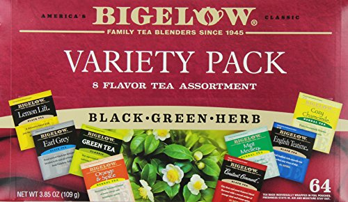 Bigelow Tea Variety Pack 8 Flavor Assortment 64-Count Boxes (Pack of 2) Caffeinated Individual Green and Black Tea Bags, for Hot Tea or Iced Tea, Drink Plain or Sweetened with Honey or Sugar