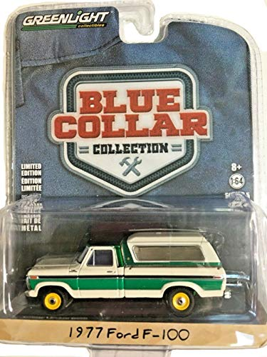 (Greenlight Rare Chase Green Machine 35120-D Blue Collar Collection Series 5 1977 Ford F-100 with Camper Shell 1:64 Scale)