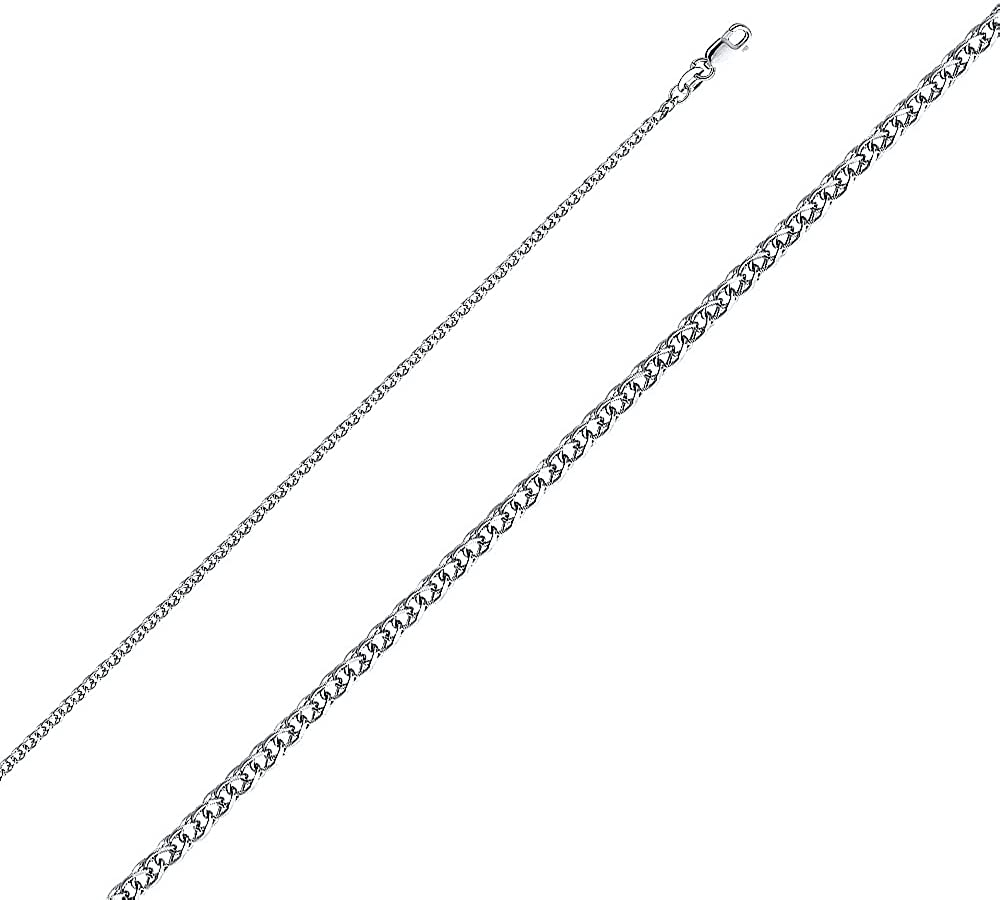 14K Yellow Gold 3mm Hollow Diamond Cut Rope Chain Necklace with Lobster Clasp Ioka