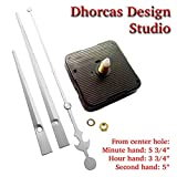 Dhorcas (#03S) Quartz Clock Movement Kit for Replacement, 1/2'' Threaded Motor and Long Silver 6'' Hands (1/2'' Thread Shaft Motor)