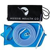 Aussie Health BPA Free Blue Silicone Enema Bag Kit with Nozzle Tips and Storage Bag - 2 Quart